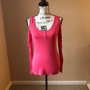 Hot Pink Cold Shoulder Blouse